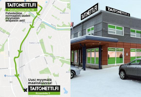 Taitonetin Oulun myymälä muuttaa